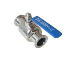 sanitary direct way ball valve with clamped ends