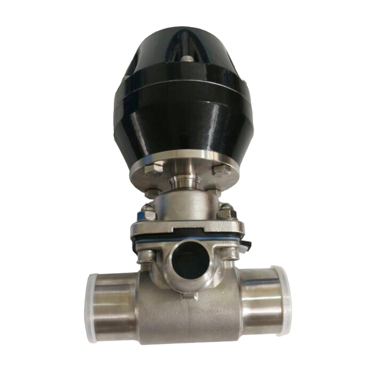 Sanitary Pneumatic 3 way T type Diaphragm Valve