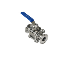 Sanitary Three piece tri-clamp PTFE encapsulated ball valve 1000WOG